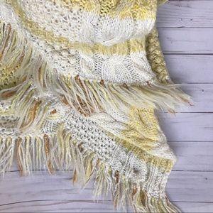 Hello Yellow Cream White Afghan/ Blanket / Throw